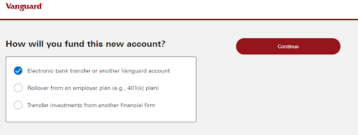 How to Fund Vanguard Account Page