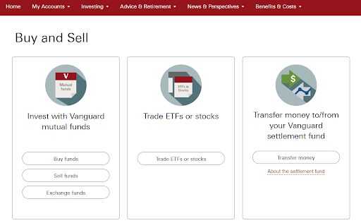 Vanguard Buy and Sell Page